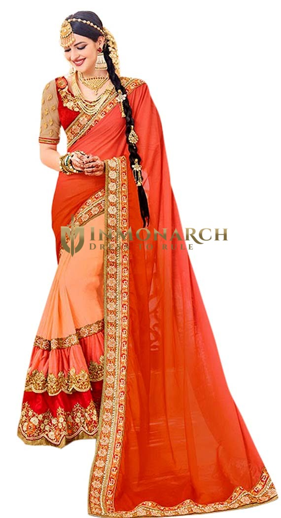 Peach Georgette Bollywood Saree