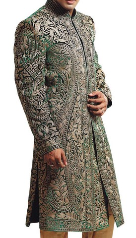 Mens Indo Western Green Sherwani Indian Designer Indian Suit