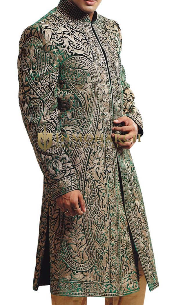 Mens Green 2 Pc Sherwani Indian Designer