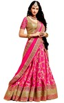Deep Pink Brocade Lehenga Sarees