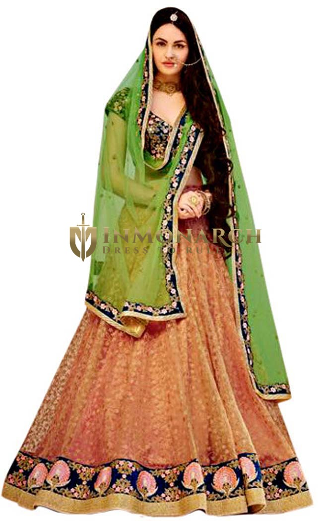 Peach Net Embroidered Lehenga Sarees