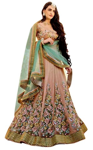 Indian Beige Net Lehenga Sarees