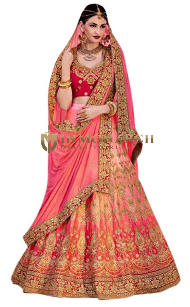 Wedding Shaded pink Satin Lehenga Saree