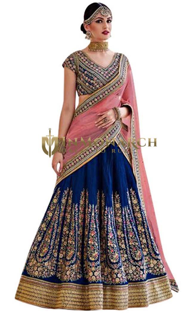 Navy Blue Silk Lehenga Style Saree
