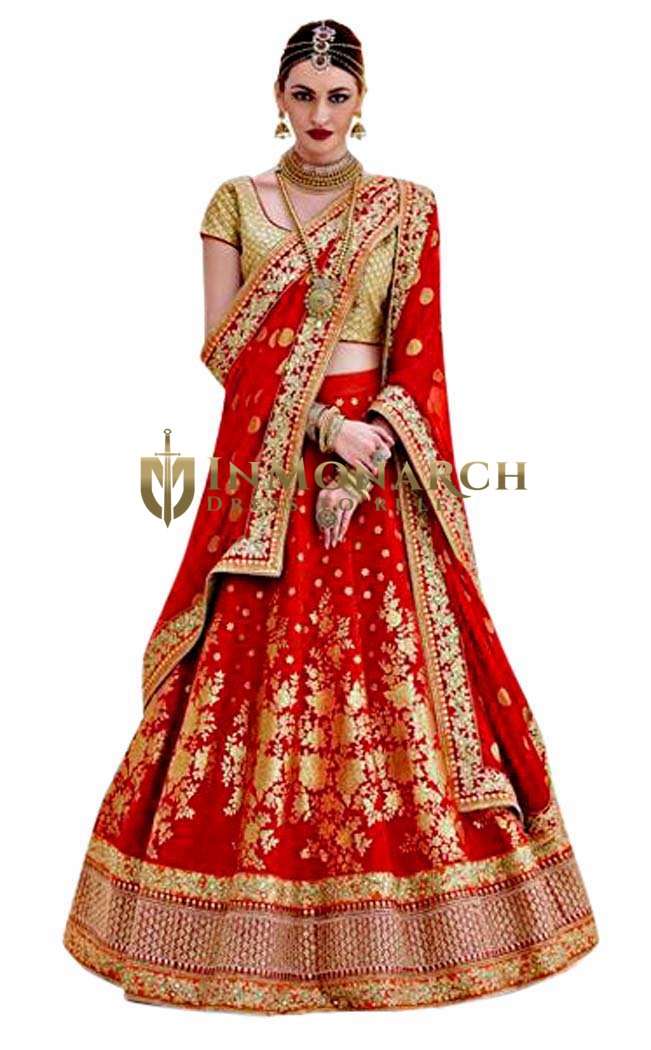 Brocade Red Lehenga Style Saree