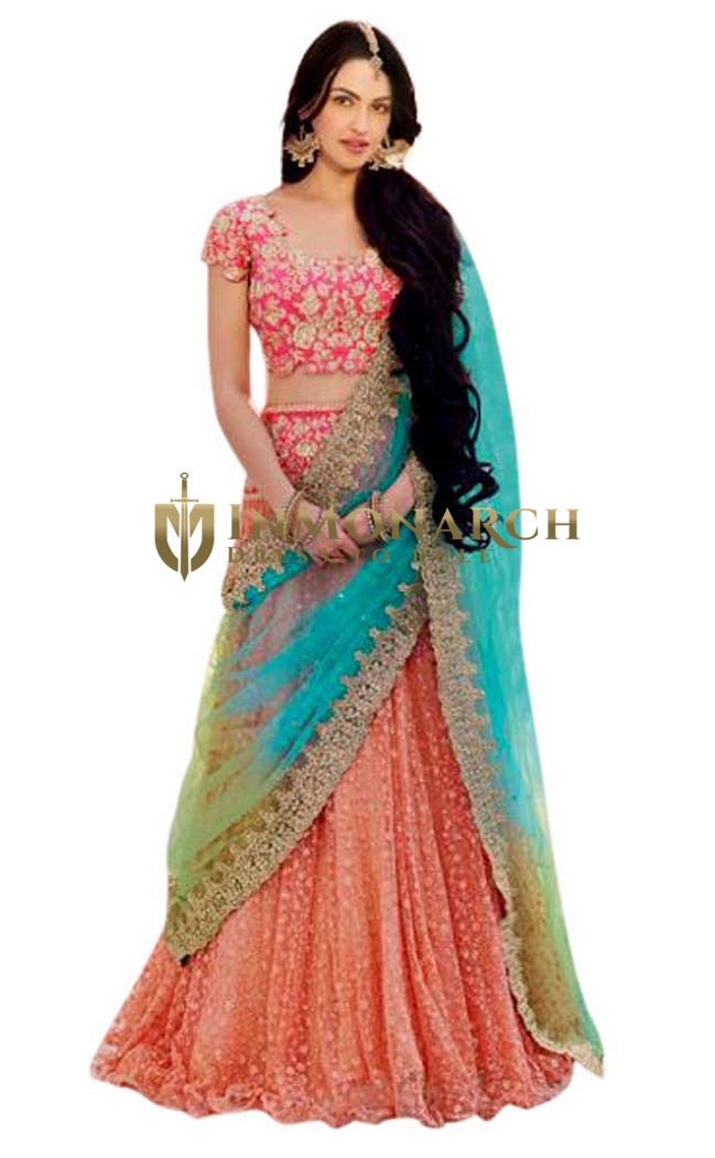 Peach and Pink Net Lehenga Saree