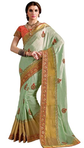 Traditional Silk Georgette Green Saree