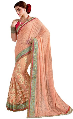 Georgette Net Peach Wedding Saree