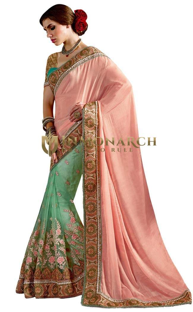 Turquoise and Peach Chiffon Net Saree