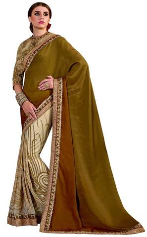 Glamour Cream and Olive Bridal Saree