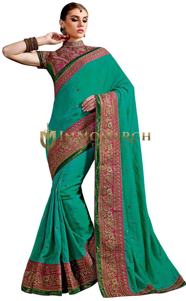 Indian Teal Two-tone Silk Bridal Saree