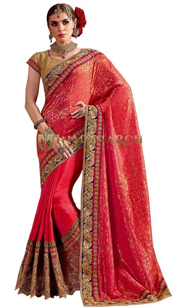 Jacquard Silk Crimson Designer Saree