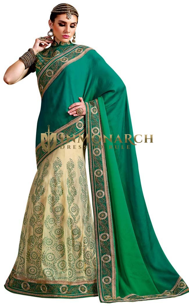 Cream and Teal Silk Georgette Saree