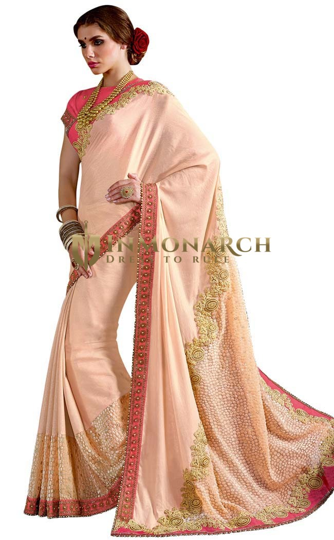 Ethnic Peach Chiffon Wedding Saree