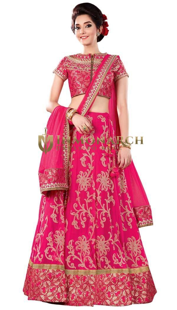 Gorgeous Magenta Net Bridal Lehenga