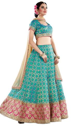 Turquoise Jacquard Silk Designer Lehenga