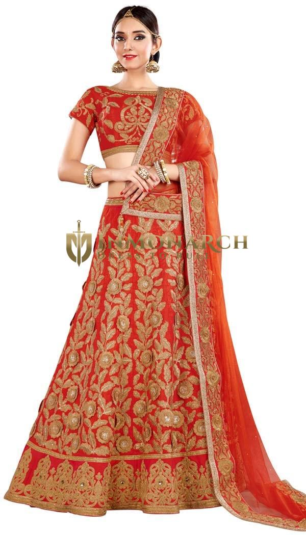 Salmon Raw Silk Indian Lehenga Choli