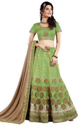 Green Raw Silk Bridal Lehenga Choli