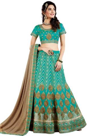 Indian Wedding Turquoise Lehenga Choli