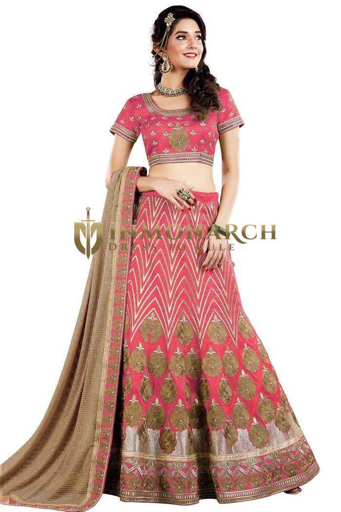 Latest Crimson Raw Silk Lehenga Choli