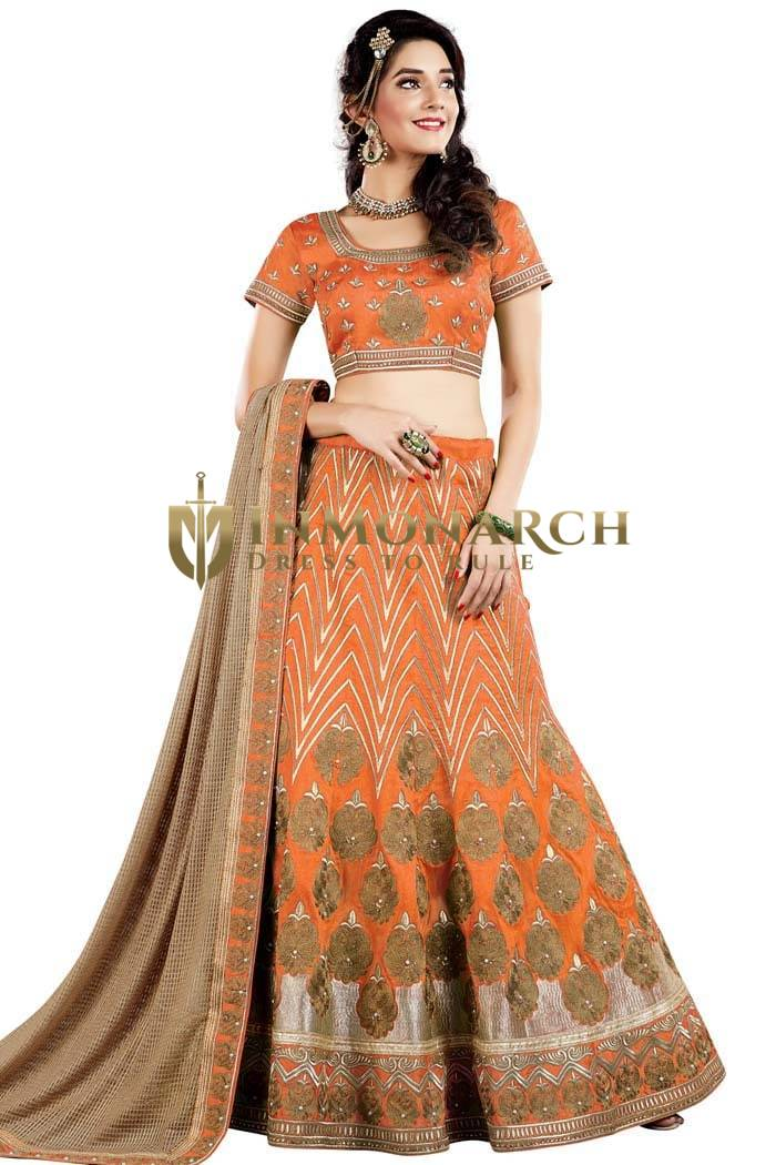 Orange Raw Silk Designer Lehenga