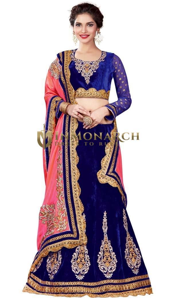 Royal Blue Velvet Lehenga Choli