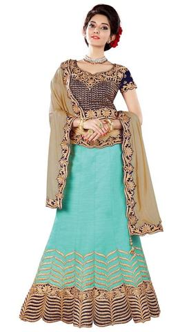 Bridal Embroidery Silk Turquoise Lehenga