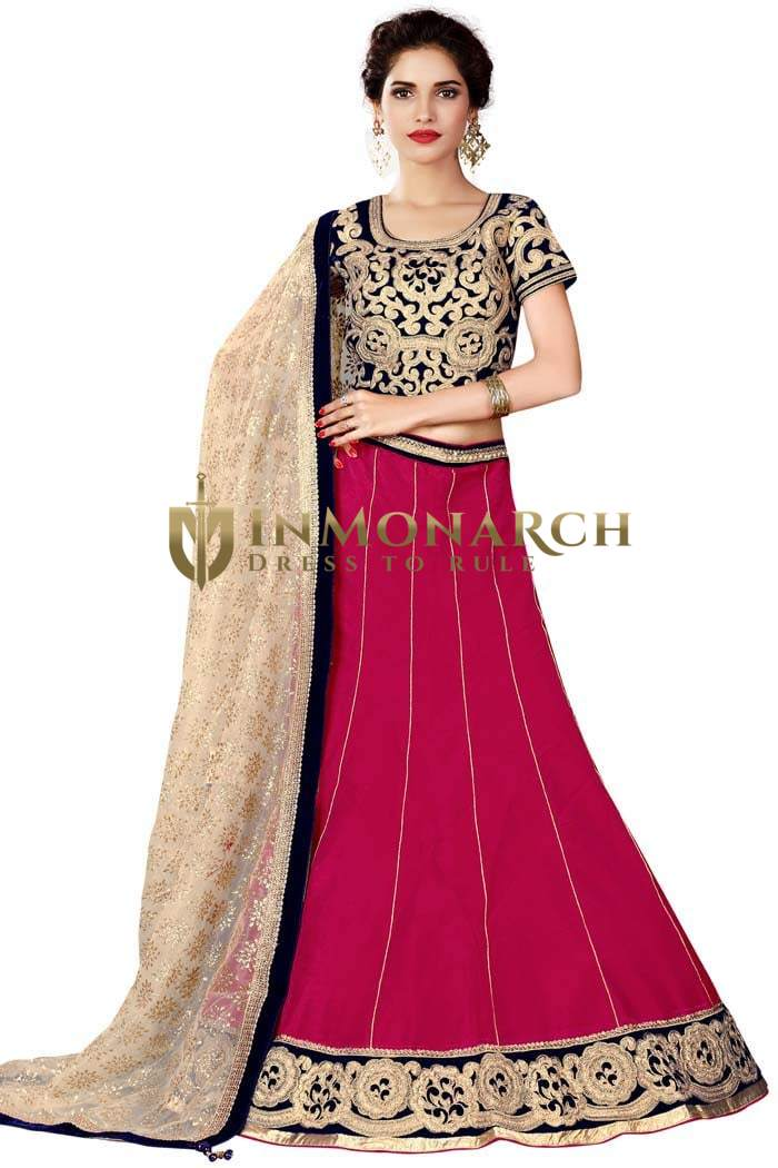 Beautiful Magenta Raw Silk Lehenga