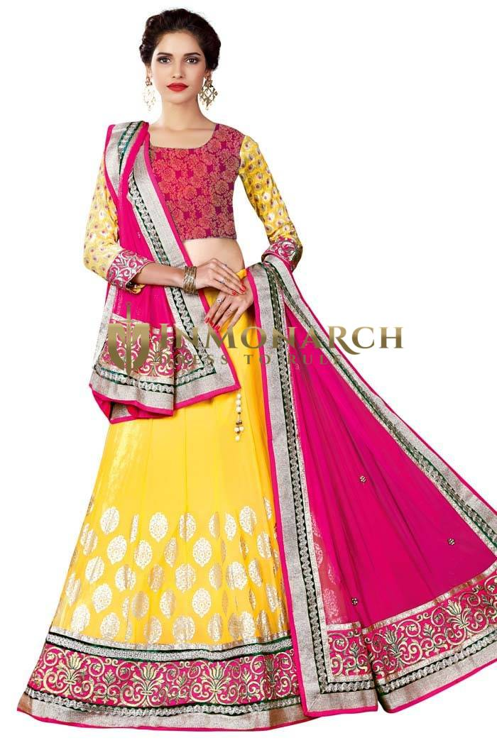 Wedding Net Yellow Lehenga Choli