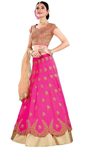 Traditional Pink Silk Designer Lehenga