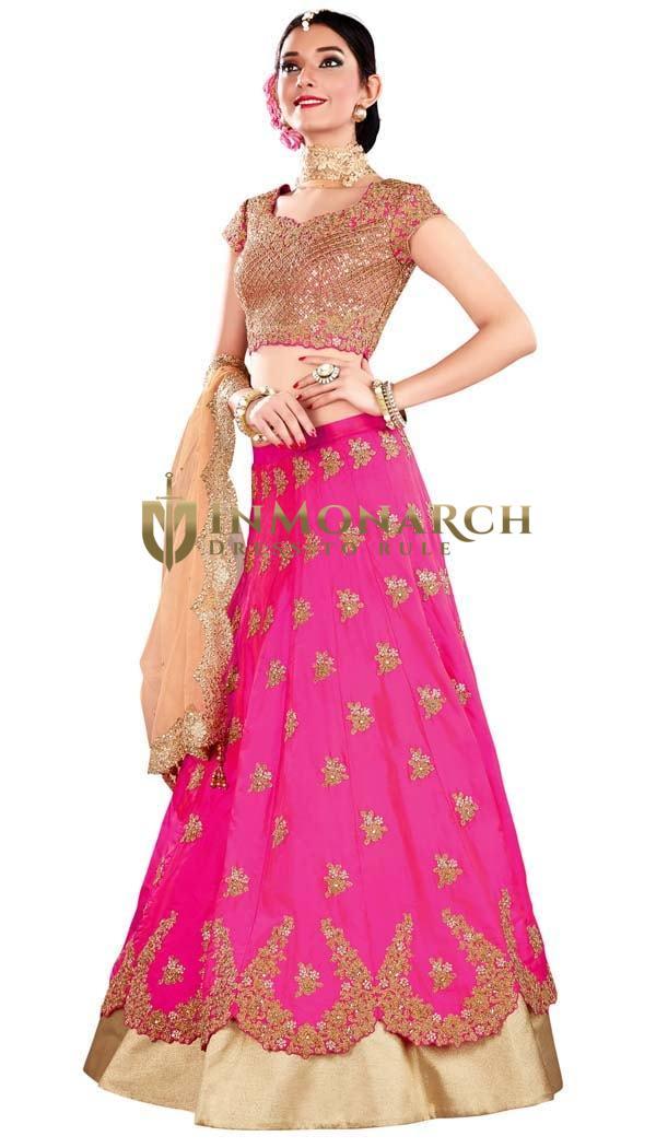 Traditional Pink Silk Designer Lehenga