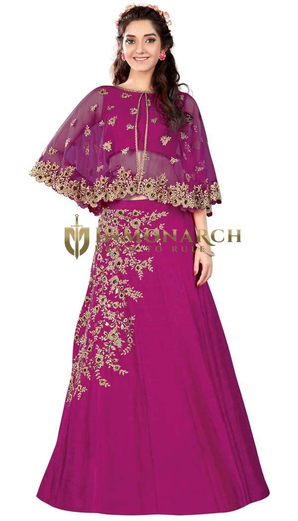 Magenta Raw Silk Bridal Lehenga
