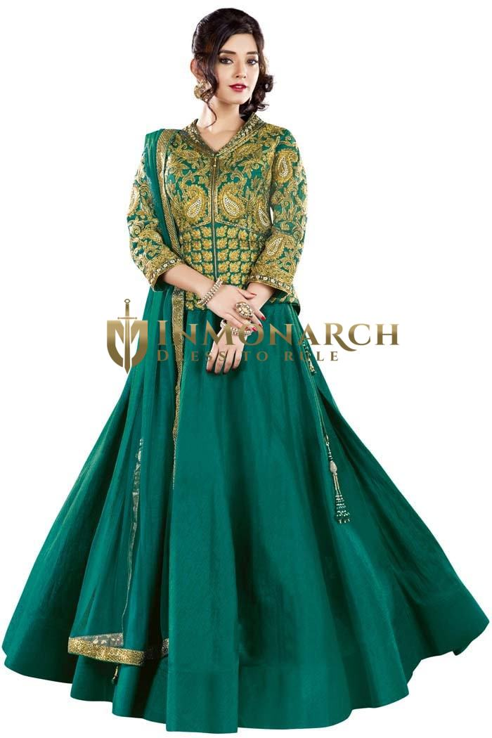 Wedding Teal Raw Silk Lehenga