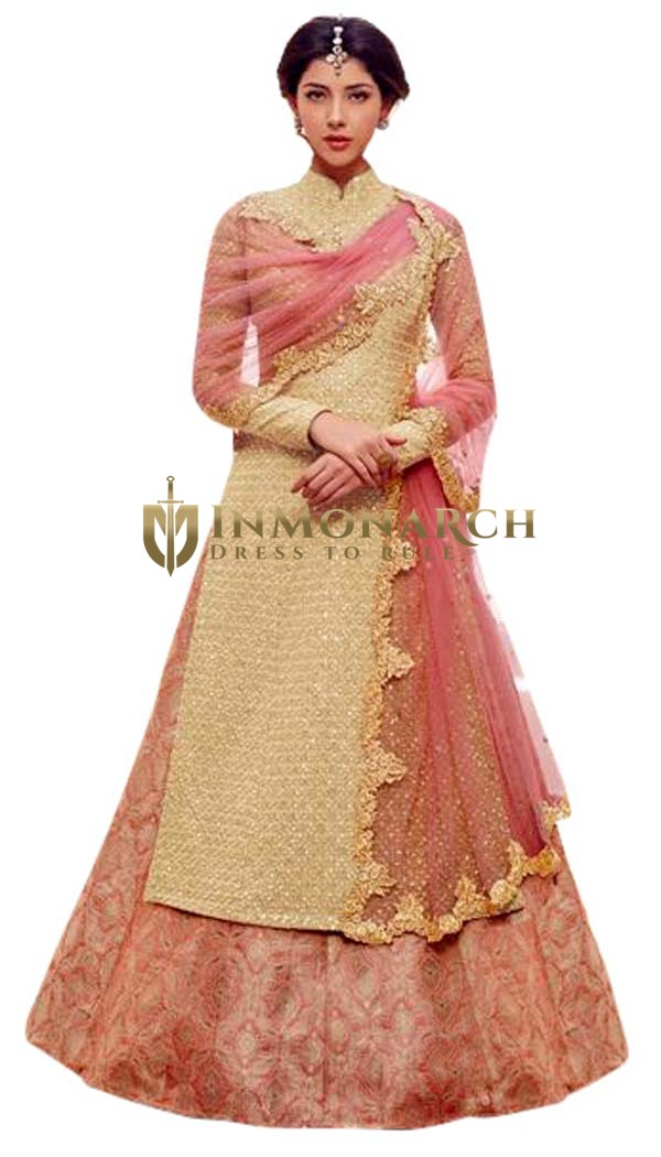 Designer Peach Indian Anarkali Suits