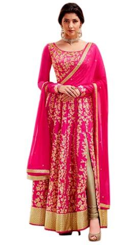 Pink Art Silk Designer Anarkali Suits