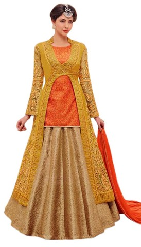 Peach and Mustard Silk Anarkali Suit