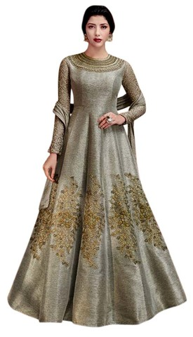Indian Gray Jute Silk Anarkali Suit