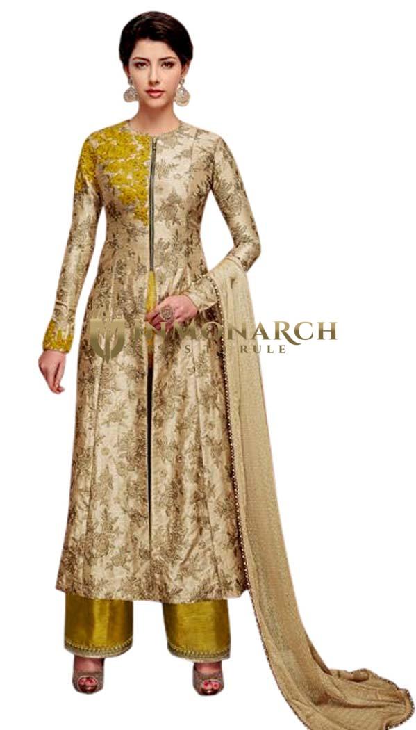 Embroidered Beige Silk Anarkali Suit