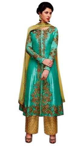 Modern Teal Banarsi Silk Anarkali Suit