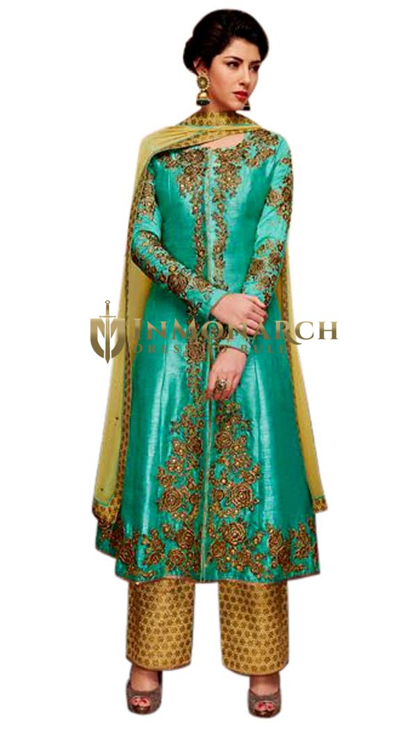 Modern Teal Banarsi Silk Anarkali Suit