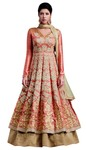 Salmon Banarsi Silk Anarkali Suit