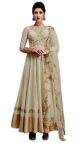 Wedding Off White Silk Anarkali Suit