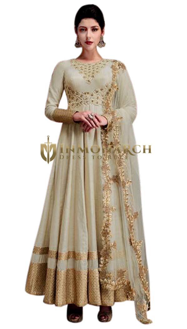 Wedding Off White Silk Anarkali Suit