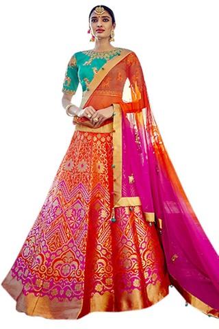Purple Silk Jacquard Bridal Lehenga