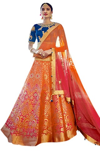 Orange Silk Jacquard Wedding Lehenga