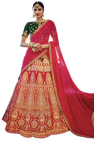 Traditional Red Silk Jacquard Lehenga