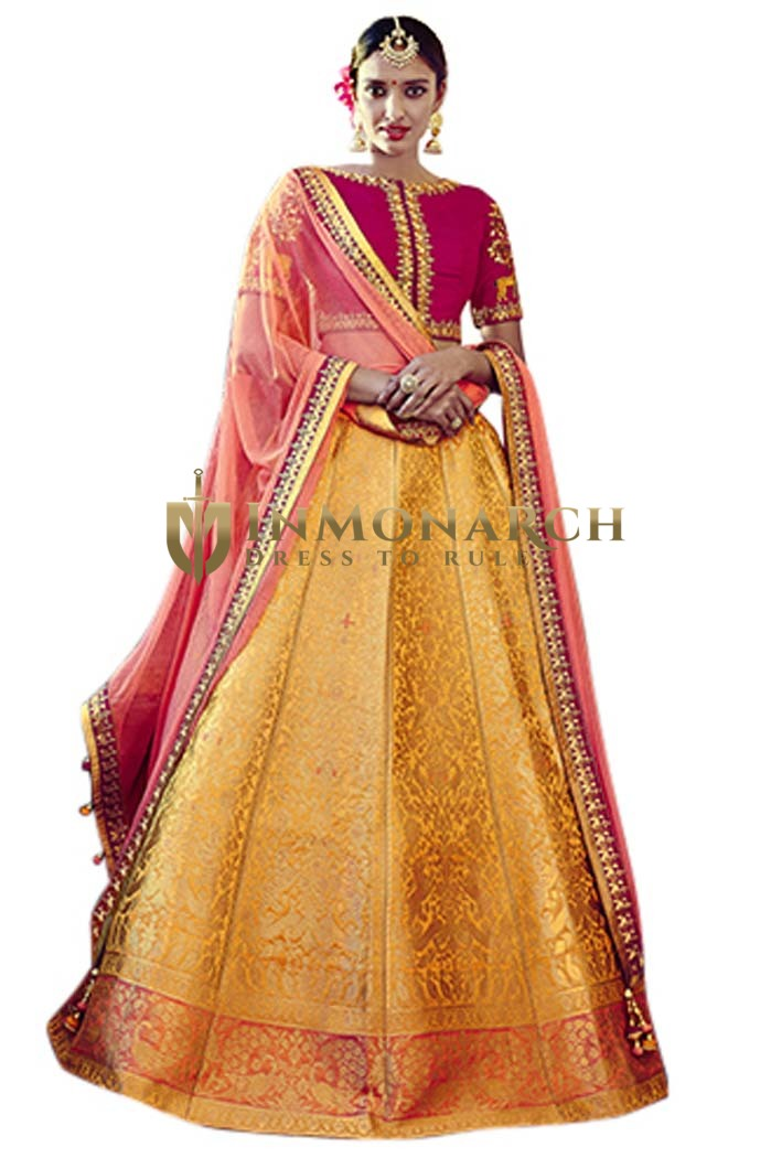Yellow Silk Jacquard Lehenga Choli