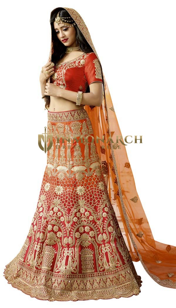 Heavy Work Red Satin Wedding Lehenga