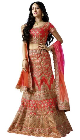 Embroidered Salmon Satin Lehenga Choli