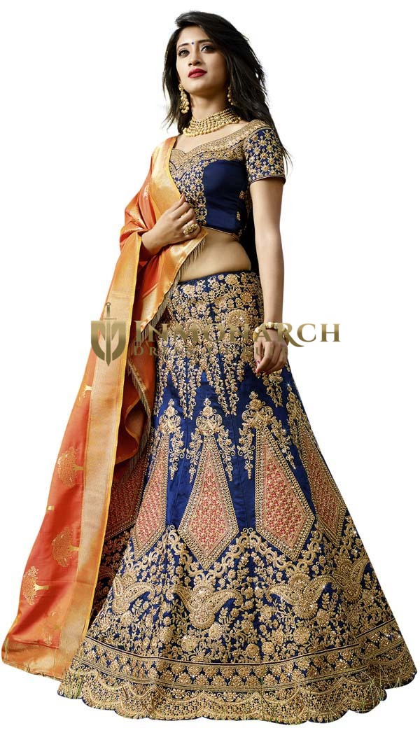 Heavy Embroidered Navy Lehenga